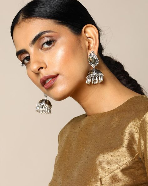 Two-Toned  Peacock Brass Jhumka Earrings By Studio B40 ( Silver )