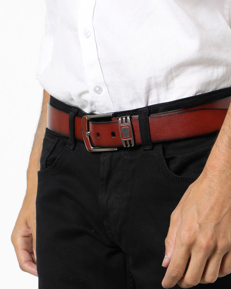 Genuine Leather Textured Belt By Buckle Up ( Tan )