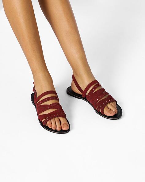 6c1868addc2 49% OFF on AJIO Strappy Suede Leather Slingback Flat Sandals on Ajio.com