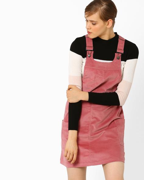 Pinafore Mini Dress By AJIO ( Rose )