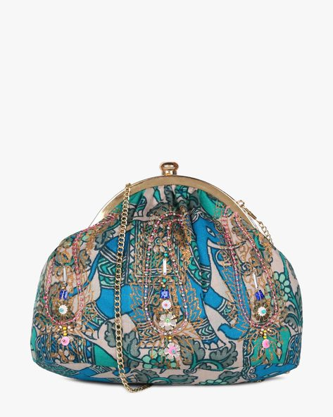 Printed Sling Clutch With Hand Embroidery By Neonia ( Blue )