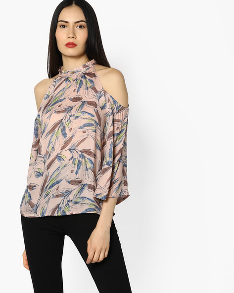 Printed Top With Cold-Shoulders By CODE By Lifestyle ( Pink )