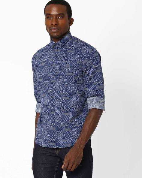 Printed Shirt With Chest Pocket By Pepe Jeans ( Blue )