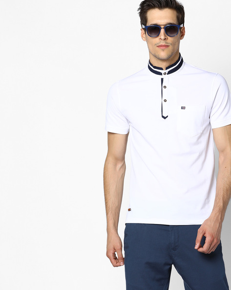 Polo T-Shirt With Band Collar By Fort Collins ( White )