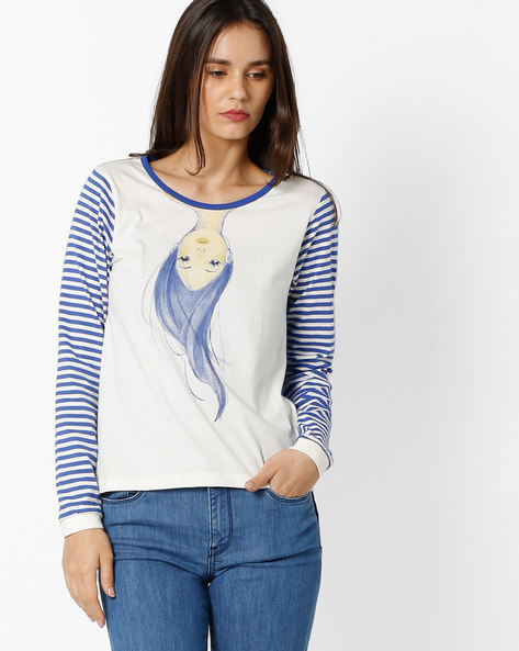 T-shirt With Striped Sleeves By RIO ( Blue )
