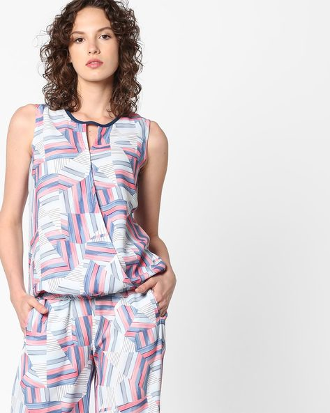 Printed Sleeveless Top With Overlapping Front By PE WW Casual ( Blue )