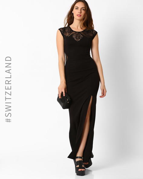 Lace Maxi Dress With Slit By TALLY WEiJL ( Black )