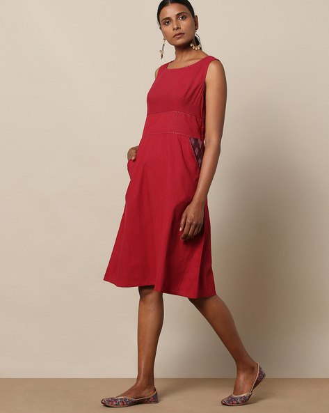 A-Line Cotton Dress With Mangalgiri Side Pockets By Indian Dobby ( Maroon )