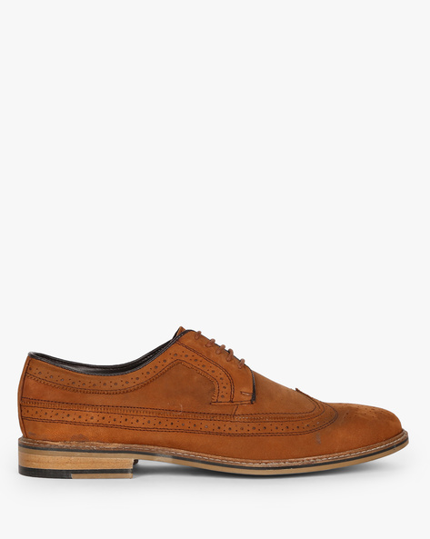 N9-Treated Genuine Leather Lace-Up Casual Shoes By AJIO ( Tan )
