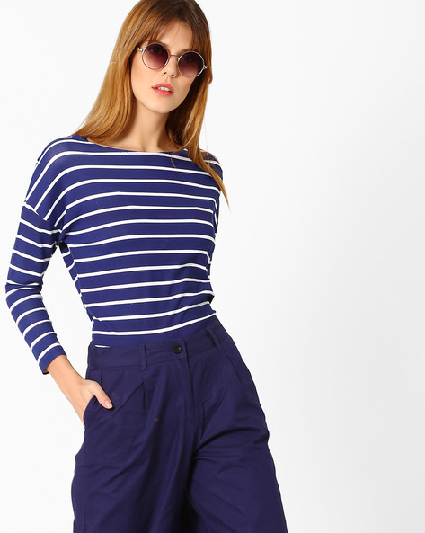 Striped Top With Drop-Shoulder Sleeves By AJIO ( Navyblue )