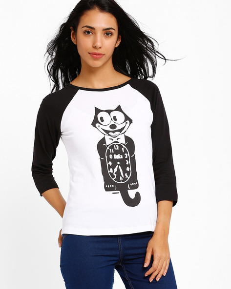 Graphic Print Crew-Neck T-shirt By Style Quotient By Noi ( Black )