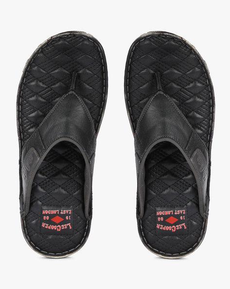 Genuine Leather Thong-Strap Flip-Flops By Lee Cooper ( Black )