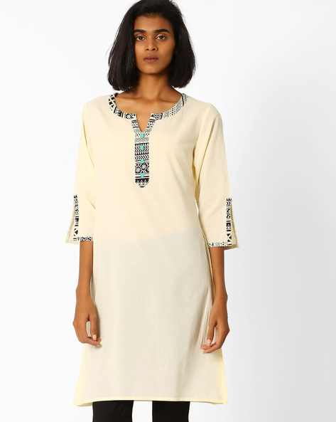 Straight Kurta With Contrast Taping By AJIO ( Beige )