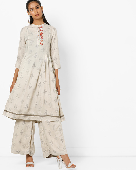 Printed Flared Kurta With Mandarin Collar By AJIO ( Grey )