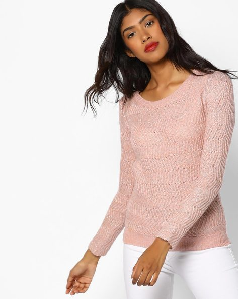 Knitted Cotton Sweater By CODE By Lifestyle ( Pink )