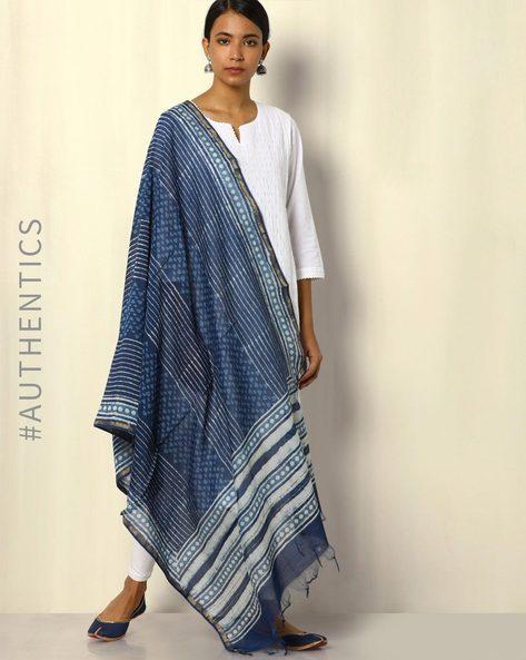 Dabu Handblock Print Chanderi Silk Cotton Dupatta By SWADESH ( Blue )