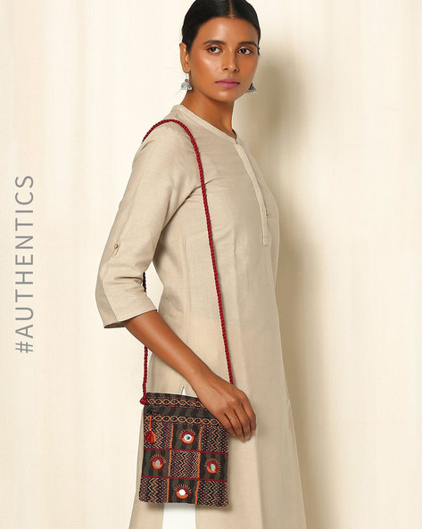 Lambani Embroidered Cotton Sling Bag By Indie Picks ( Beige )
