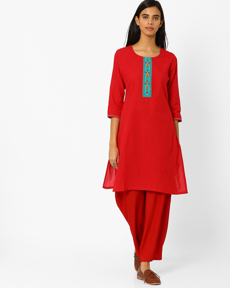 Cotton Straight Kurta With Embroidery By Rangmanch By Pantaloons ( Red )
