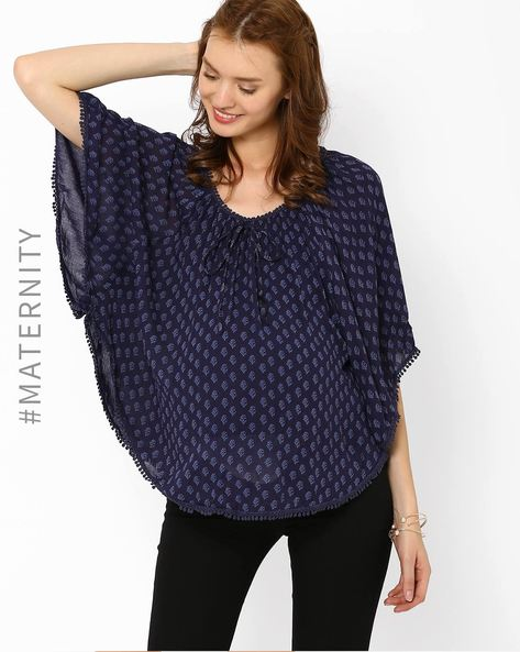 Printed Maternity Poncho Top By Oxolloxo ( Blue )