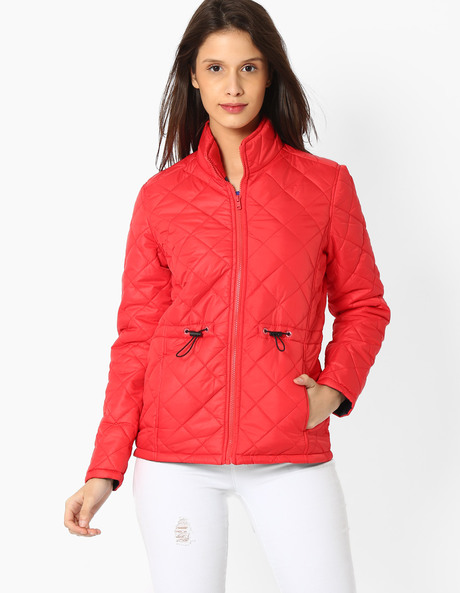 Quilted Jacket With Stand Collar By TEAM SPIRIT ( Orange )