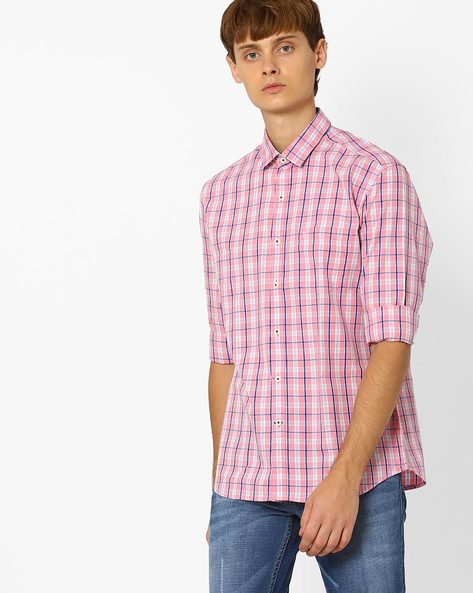 Checked Shirt With Patch Pocket By NETPLAY ( Pink )