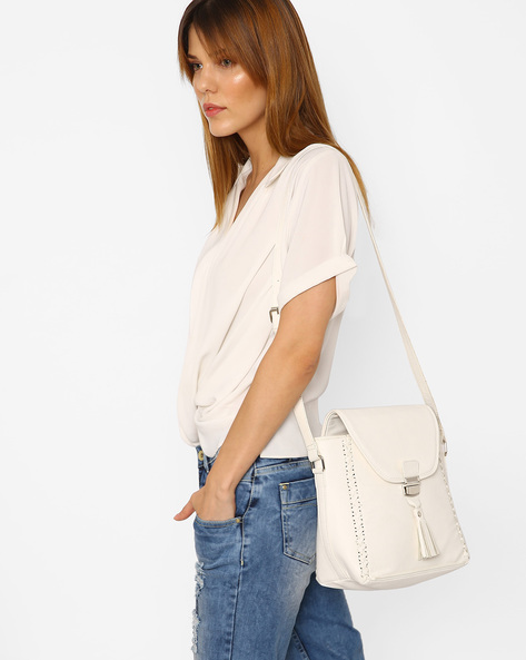 Sling Bag With Braided Design By AJIO ( White )