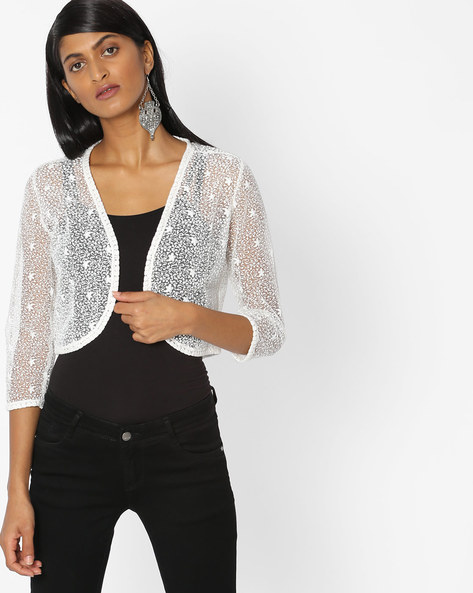 Open-Front Lace Shrug By KRAUS ( Offwhite )