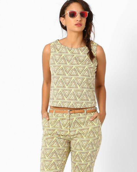 Crop Top With Geometric Print By AJIO ( Mustard )