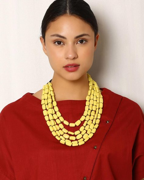 Handmade Multistranded Tribal Bead Necklace By Indie Picks ( Yellow )