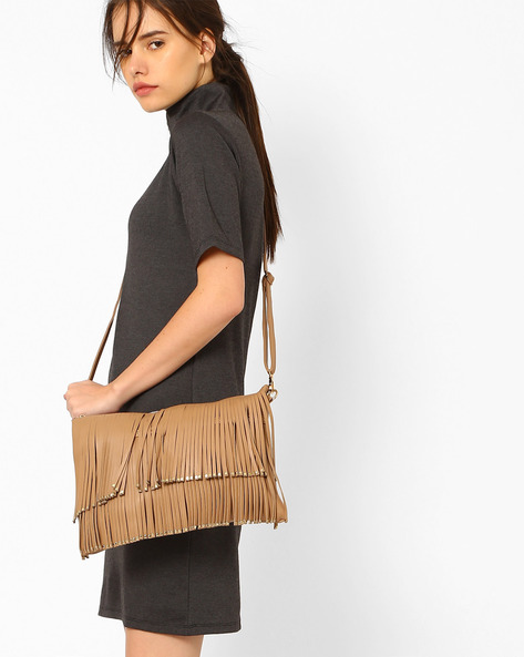 Fringed Sling Bag With Rivets By Joker & Witch ( Nude )