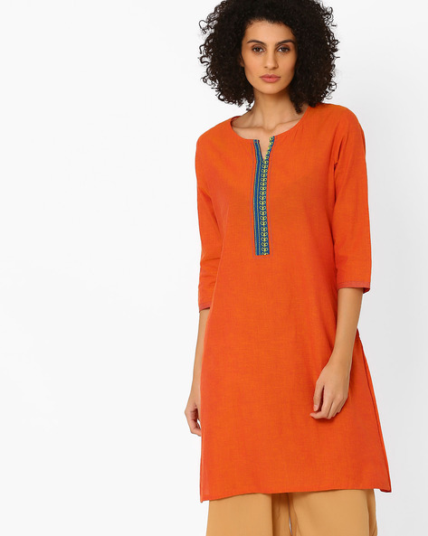 Cotton Straight Kurta By Rangmanch By Pantaloons ( Orange )