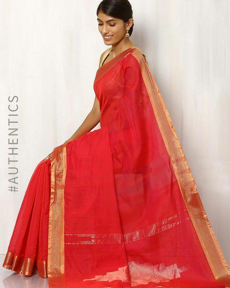 Handwoven Cotton Silk Saree By Rudrakaashe-MSU ( Red )