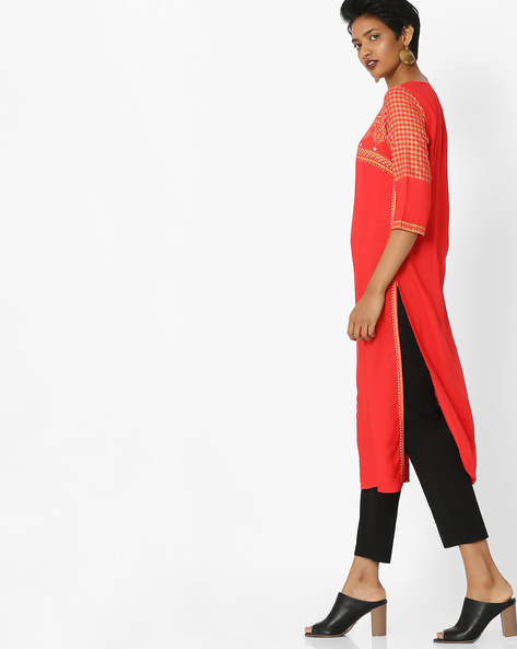 Printed Kurta With Side Slits By AURELIA ( Red )