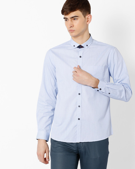 Regular Fit Shirt With Cutaway Collar By NETWORK ( Blue )