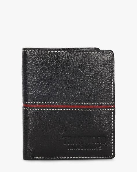 Bi-Fold Leather Wallet By TEAKWOOD LEATHERS ( Black )