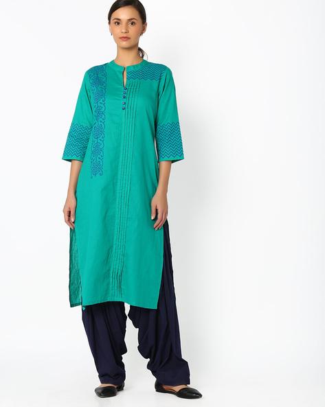 Printed Straight Kurta With Pintucks By Shakumbhari ( Green )