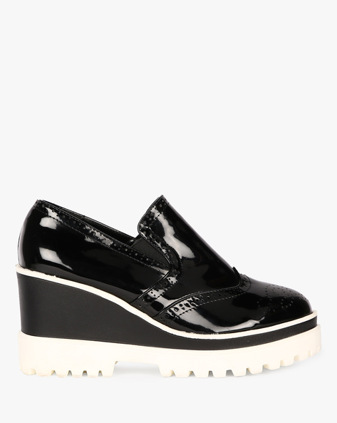 Platform Slip-Ons With Broguing By Carlton London ( Black )