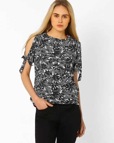 Printed Cold-Shoulder Top By CHM ( Black )