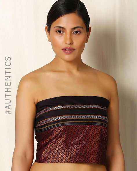 Guledgudda Khun Blouse Fabric With Contrast Border By Indie Picks ( Orange )