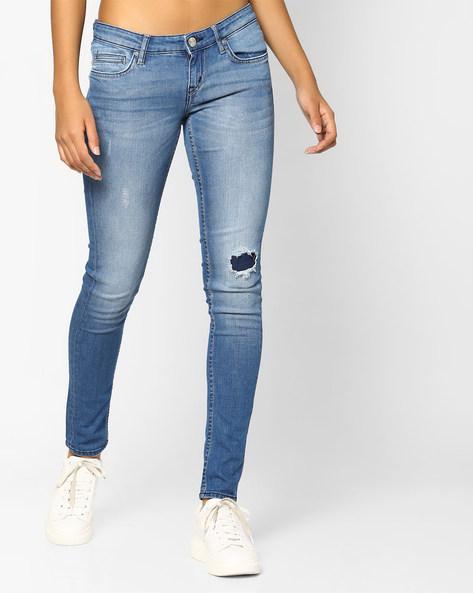 Skinny Fit Distressed Jeans By Lee ( Lightblue )