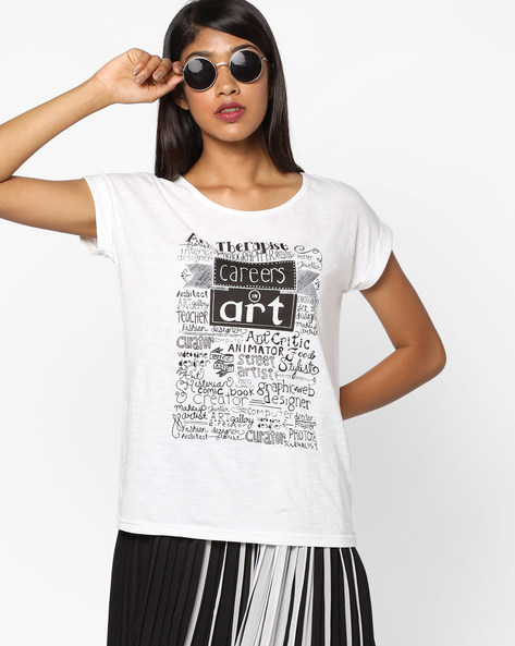 Typographic Print Top By Ginger By Lifestyle ( Offwhite )