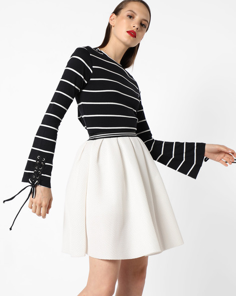 Striped Top With Tie-Up Sleeve Hems By AJIO ( Black )