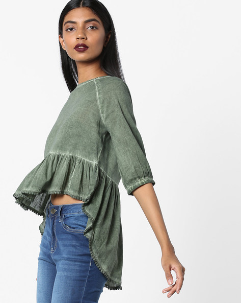 High-Low Peplum Top By AJIO ( Olive )