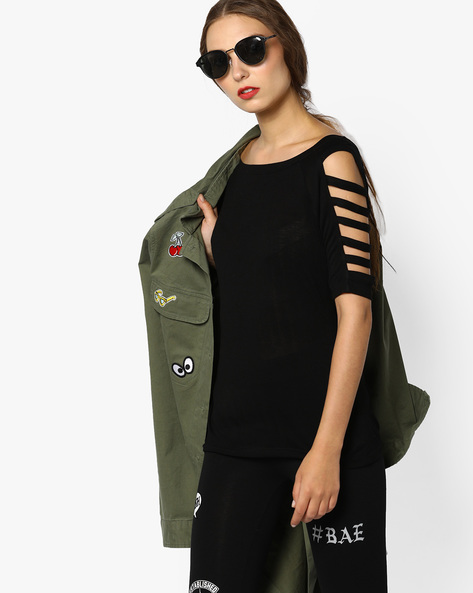 Top With Cut-Out Sleeves By CODE By Lifestyle ( Black )