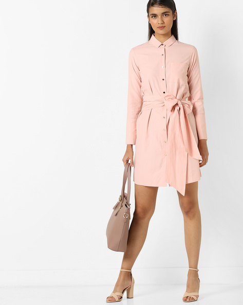 Shirt Dress With Waist Tie-Up By AJIO ( Peach )