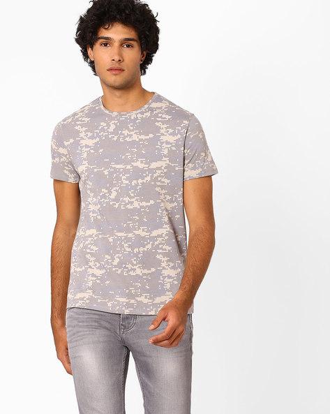 Camouflage Print Crew-Print T-shirt By AJIO ( Grey )