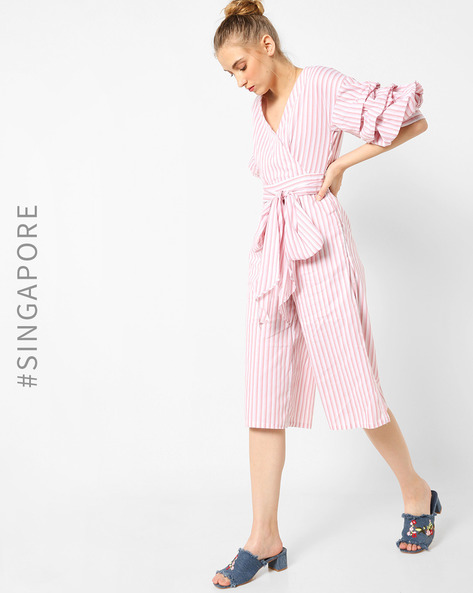 Striped Jumpsuit With Waist Tie-Up By MDS ( Pink )