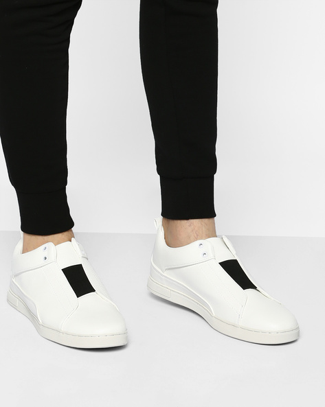 Slip-Ons Sneakers With Elasticated Gussets By AJIO ( White )