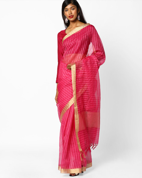 Striped Saree With Contrast Border By CHHABRA 555 ( Purple )