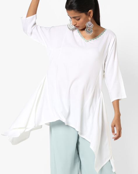 Tunic With Dipped Hemline By AJIO ( Offwhite )